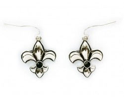 Silver Fleur De Lis Puffy Black Crystal Hook Earrings