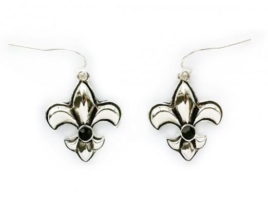 Silver Fleur De Lis Puffy Black Crystal Hook Earrings