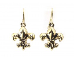 Gold Plain Puffy Fleur De Lis Hook Earrings