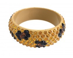 Tan Lucite Leopard Crystal Bangle