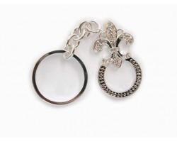 Silver Crystal Fleur De Lis Key Chain