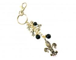 Black Gold Fleur De Lis Keychain