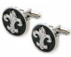 Silver Fleur De Lis with Round Black Back Cuff Links