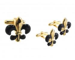 Black Gold Fleur De Lis Cuff Link