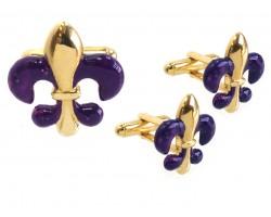 Purple Gold Fleur De Lis Cuff Link