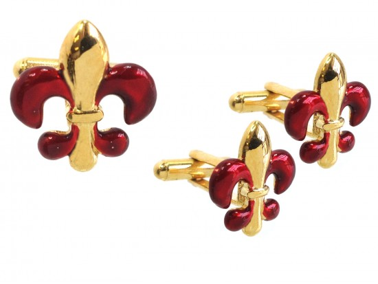 Red Gold Fleur De Lis Cuff Link