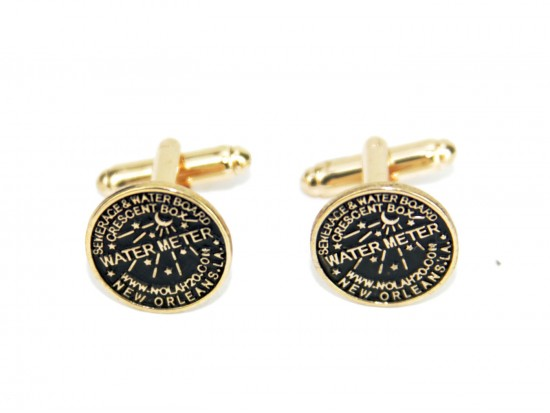 Antique Gold Water Meter Cuff Links 15mm
