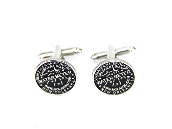 Antique Silver Water Meter Cuff Links 15mm