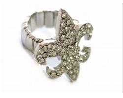 Clear Crystal Fleur De Lis Silver Stretch Ring