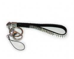 Two Row Jet, Hematite, Black Diamond And Clear Crystal Strap Key Chain