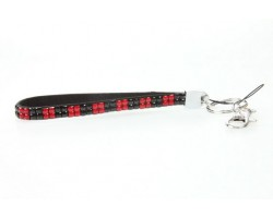 Red & Black Checker Crystal Strap Key Chain