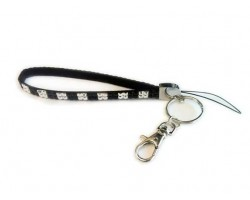 Jet & Clear Checker Crystal Strap Key Chain