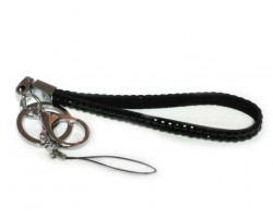 Two Row Jet Black Crystal Strap Key Chain