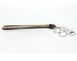Two Row Light Topaz and Jet Crystal Strap Key Chain
