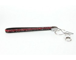 Red Black Crystal Strap Key Chain