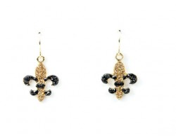 Light Topaz & Jet Crystal Pave Gold Fleur De Lis Hook Earrings