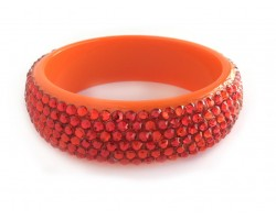 Hyacinth Crystal Orange Lucite Bangle