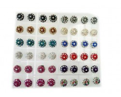 Assorted Domed Round Crystal Post Earring 24 Pair