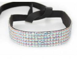 Clear AB Crystal 5 Row Headband Tie