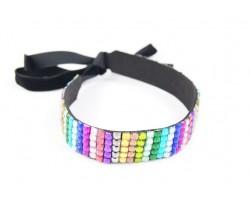 Dark Multi Crystal 5 Row Headband Tie