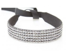 Hematite Crystal 5 Row Headband Tie