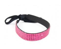 Hot Pink Crystal 5 Row Headband Tie