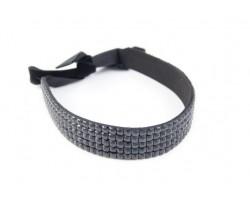 Jet Crystal 5 Row Headband Tie
