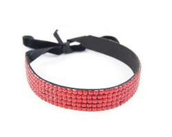 Light Siam Crystal 5 Row Headband Tie
