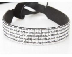 Metallic Crystal 5 Row Headband Tie