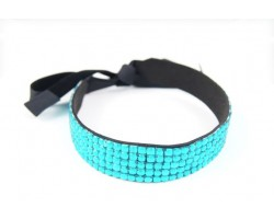Blue Zircon Crystal 5 Row Headband Tie