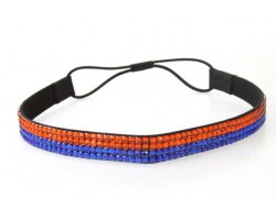 Orange Blue Crystal 5 Row Headband Stretch
