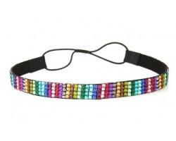Dark Multi Crystal 5 Row Headband Stretch