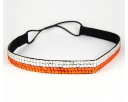 Orange Clear Crystal 5 Row Headband Stretch