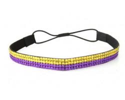 Purple Gold Crystal 5 Row Headband Stretch