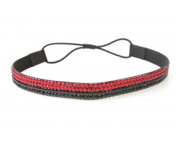 Jet Red Crystal 5 Row Headband Stretch