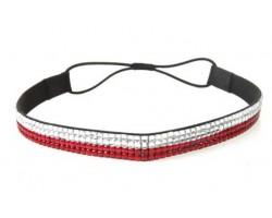 Red Clear Crystal 5 Row Headband Stretch