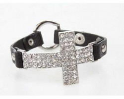 Clear Crystal Curved Cross Black Leather Strap Bracelet