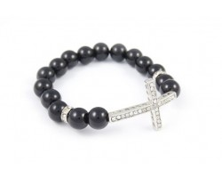 Clear Crystal Curved Cross Black Bead Stretch Bracelet