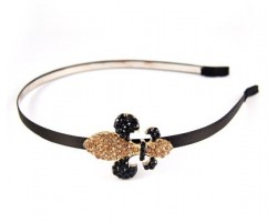 Black Gold Crystal Fleur-De-Lis Headband