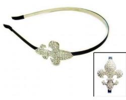 Clear Crystal Fleur-De-Lis Headband