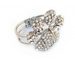 Clear Crystal Paw Print Hinge Bangle