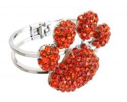 Orange Crystal Paw Print Hinge Cuff Bracelet
