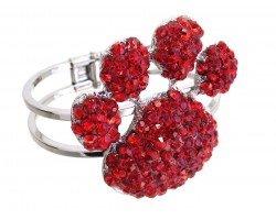 Red Crystal Paw Print Hinge Cuff Bracelet