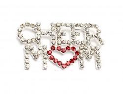 Clear Crystal CHEER MOM Heart Brooch