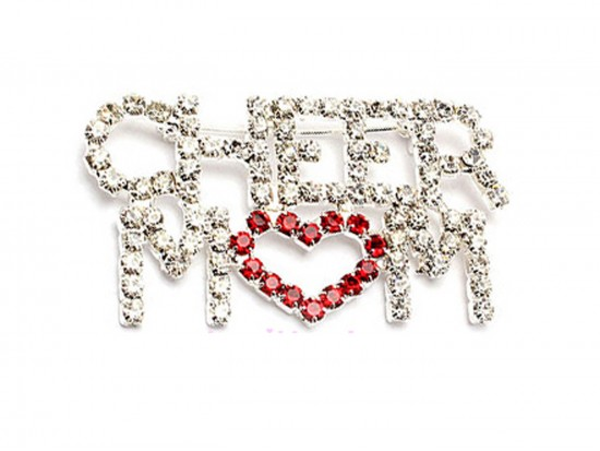 Clear Crystal CHEER MOM Heart Brooch