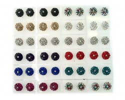 Assorted Color Crystal 11mm Round Post Earring Cards