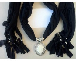 Black Scarf and Oval Cabochon Pendant Necklace