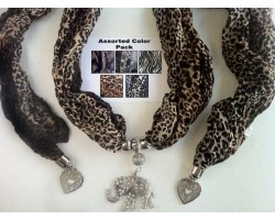Animal Scarf Antique Silver Crystal Elephant Pendant Necklace 6 Pack