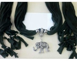 Black Scarf Antique Silver Crystal Elephant Pendant Necklace