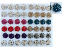 Assorted 22mm Round AB Crystal Earrings 24Pk Card